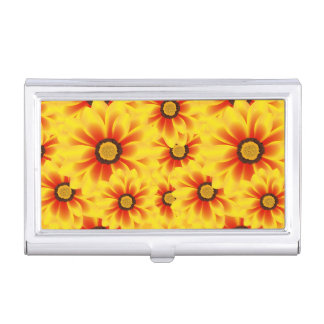 Summer colorful pattern yellow tickseed business card holder