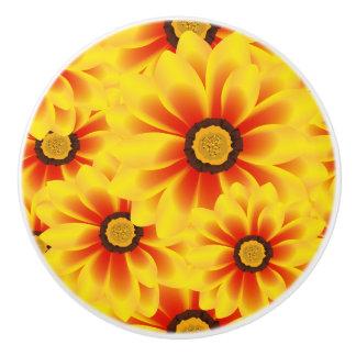 Summer colorful pattern yellow tickseed ceramic knob