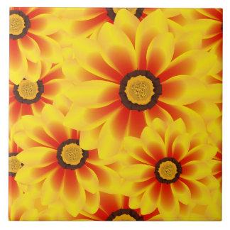 Summer colorful pattern yellow tickseed ceramic tiles