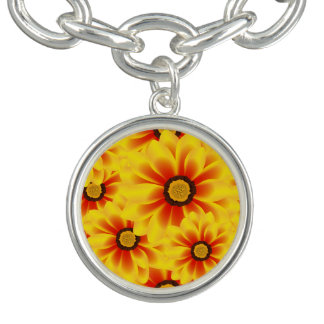 Summer colorful pattern yellow tickseed charm bracelets