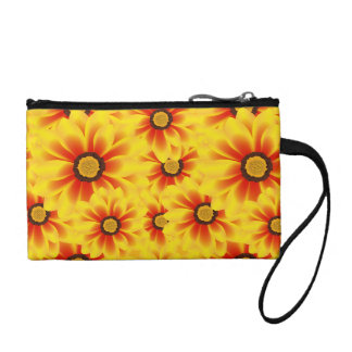 Summer colorful pattern yellow tickseed coin wallets