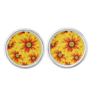 Summer colorful pattern yellow tickseed cufflinks