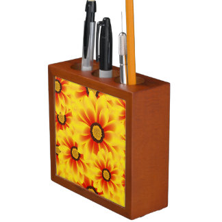 Summer colorful pattern yellow tickseed desk organizer