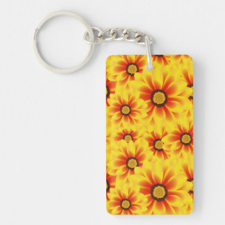 Summer colorful pattern yellow tickseed Double-Sided rectangular acrylic keychain