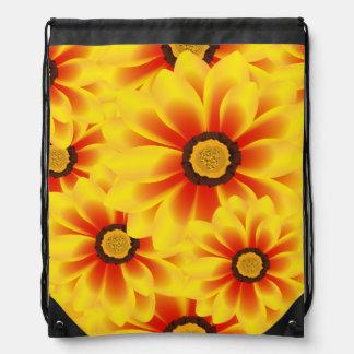 Summer colorful pattern yellow tickseed drawstring bag