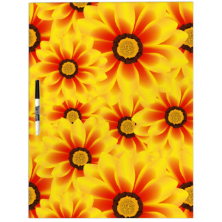 Summer colorful pattern yellow tickseed dry erase board