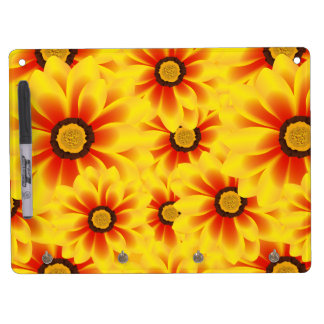 Summer colorful pattern yellow tickseed dry erase board with keychain holder