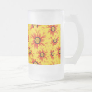Summer colorful pattern yellow tickseed frosted glass beer mug