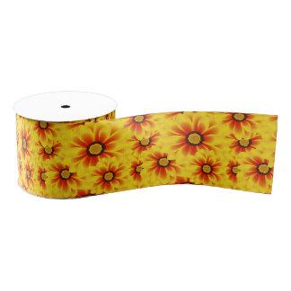 Summer colorful pattern yellow tickseed grosgrain ribbon