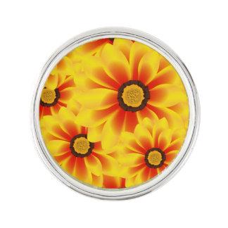 Summer colorful pattern yellow tickseed lapel pin