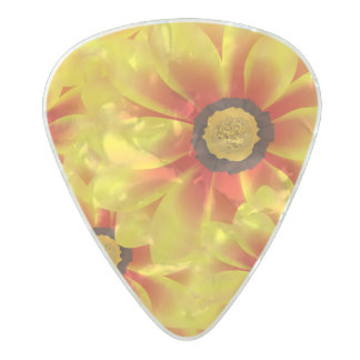Summer colorful pattern yellow tickseed pearl celluloid guitar pick
