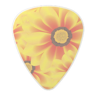 Summer colorful pattern yellow tickseed polycarbonate guitar pick