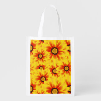 Summer colorful pattern yellow tickseed reusable grocery bag