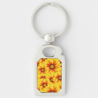 Summer colorful pattern yellow tickseed Silver-Colored rectangle keychain