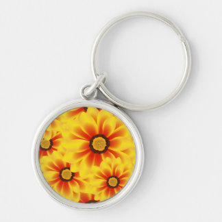 Summer colorful pattern yellow tickseed Silver-Colored round keychain