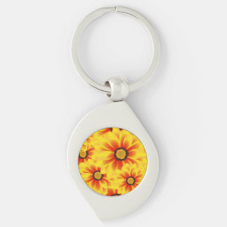 Summer colorful pattern yellow tickseed Silver-Colored swirl keychain