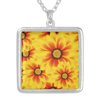 Summer colorful pattern yellow tickseed silver plated necklace