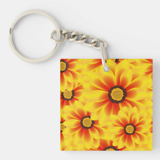 Summer colorful pattern yellow tickseed Single-Sided square acrylic keychain