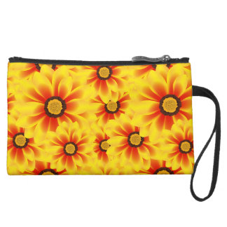Summer colorful pattern yellow tickseed suede wristlet