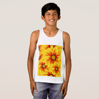 Summer colorful pattern yellow tickseed tank top