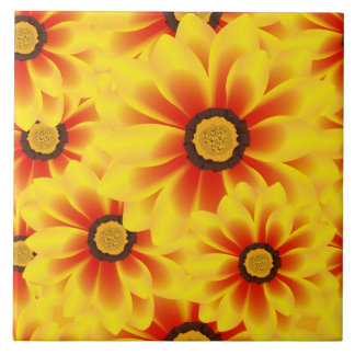 Summer colorful pattern yellow tickseed tile