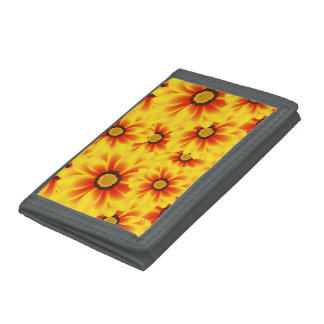 Summer colorful pattern yellow tickseed tri-fold wallet