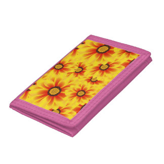 Summer colorful pattern yellow tickseed trifold wallet