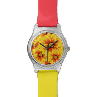 Summer colorful pattern yellow tickseed watch