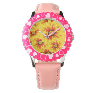Summer colorful pattern yellow tickseed watches