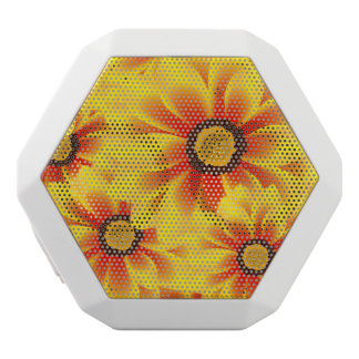 Summer colorful pattern yellow tickseed white bluetooth speaker