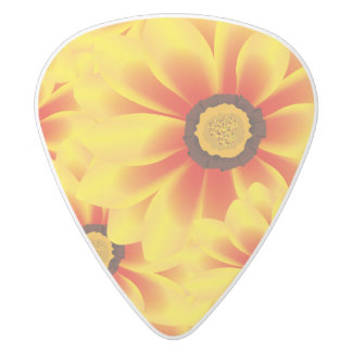 Summer colorful pattern yellow tickseed white delrin guitar pick