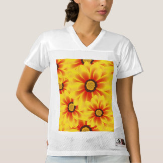 Summer colorful pattern yellow tickseed women's football jersey