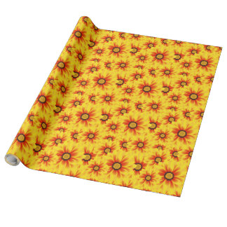Summer colorful pattern yellow tickseed wrapping paper