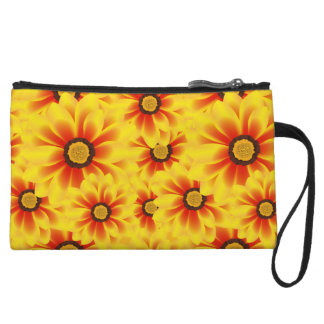 Summer colorful pattern yellow tickseed wristlet purse
