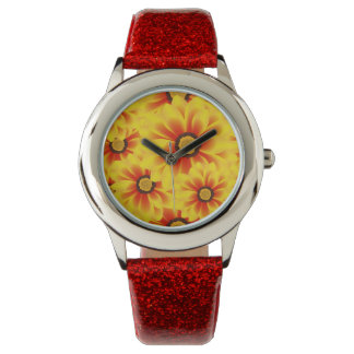 Summer colorful pattern yellow tickseed wristwatch