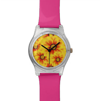 Summer colorful pattern yellow tickseed wristwatches
