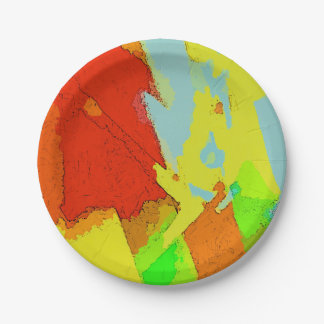 Summer Colors Abstract Landscape Pattern 7 Inch Paper Plate