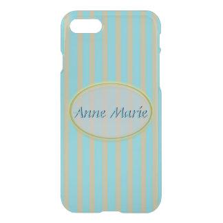 Summer Colors Aqua and Beige Stripes - Classic iPhone 8/7 Case