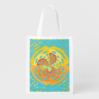 Summer colors reusable grocery bags