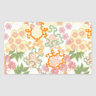 Summer Cottage Flowers Pattern Rectangle Sticker