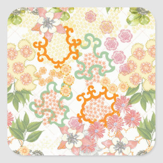 Summer Cottage Flowers Pattern Square Stickers