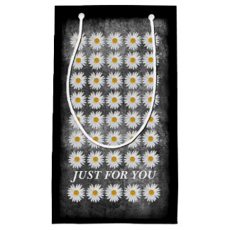Summer Daisies on Textured Black and White Small Gift Bag