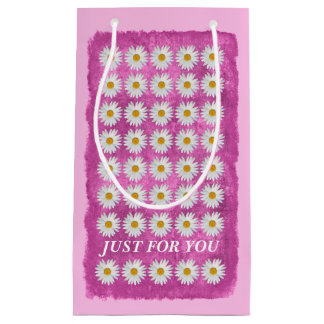 Summer Daisies on Textured Pink Small Gift Bag