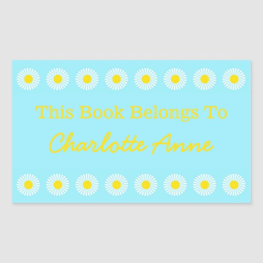 Summer Daisy Personalized Book Plate Sticker