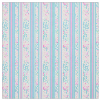 Summer Days Floral Stripes Pink Sky Blue White Fabric
