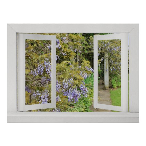 Summer Days - Open Window View with Blue Wisteria Print