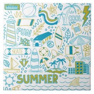 Summer Doodle Art Tile