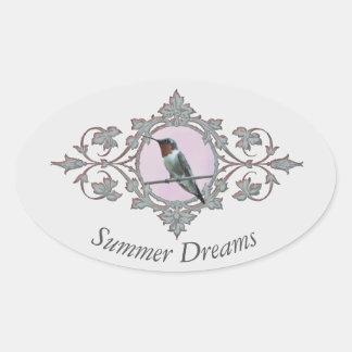 """Summer Dreams"" Beautiful Hummingbird Photograph Oval Sticker"