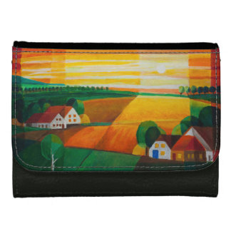 Summer evening over the village - purse black women's wallets