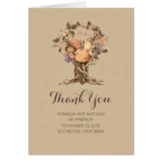summer - fall tree harvest wedding thank you card